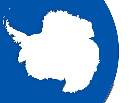 antarctica: Flag of Antarctica on simple globe with grey countries and blue ocean. 3D illustration Stock Photo