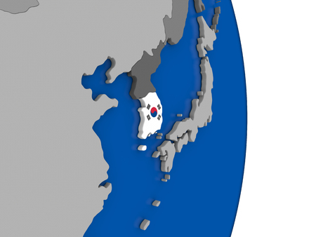 korean national: Flag of South Korea on simple globe with grey countries and blue ocean. 3D illustration