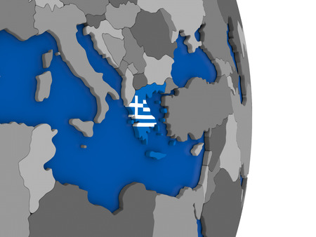 hellenic: Flag of Greece on simple globe with grey countries and blue ocean. 3D illustration Stock Photo