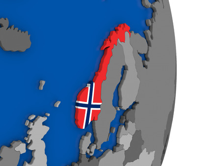 norway flag: Flag of Norway on simple globe with grey countries and blue ocean. 3D illustration