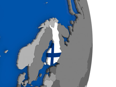 finnish: Flag of Finland on simple globe with grey countries and blue ocean. 3D illustration Stock Photo