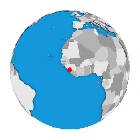 Map of Sierra Leone highlighted in red on globe. 3D illustration isolated on white background. Stock Photo