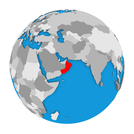 Map of Oman highlighted in red on globe. 3D illustration isolated on white background.