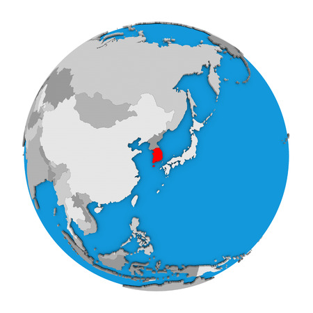 south asia: Map of South Korea highlighted in red on globe. 3D illustration isolated on white background.