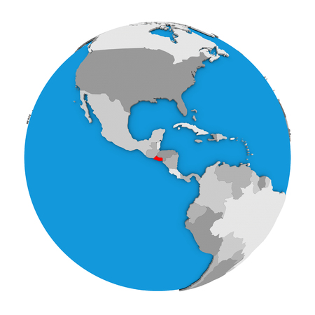 mapa de el salvador: Map of El Salvador highlighted in red on globe. 3D illustration isolated on white background. Foto de archivo