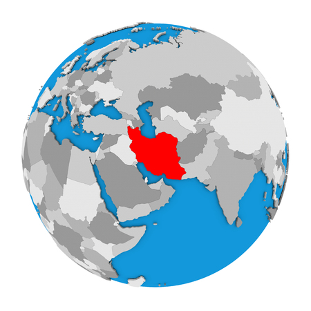 Map of Iran highlighted in red on globe. 3D illustration isolated on white background.