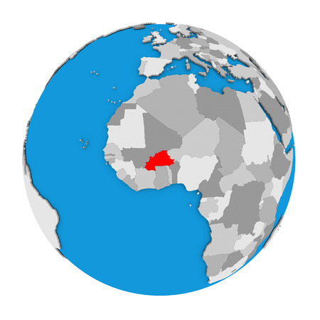 Map of Burkina Faso highlighted in red on globe. 3D illustration isolated on white background.