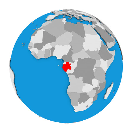 Map of Gabon highlighted in red on globe. 3D illustration isolated on white background.