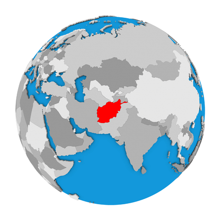 Map of Afghanistan highlighted in red on globe. 3D illustration isolated on white background.
