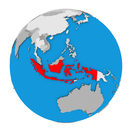 Map of Indonesia highlighted in red on globe. 3D illustration isolated on white background. Imagens