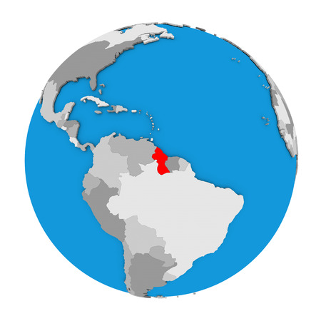 guyanese: Map of Guyana highlighted in red on globe. 3D illustration isolated on white background.