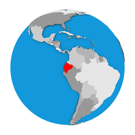 Map of Ecuador highlighted in red on globe. 3D illustration isolated on white background.