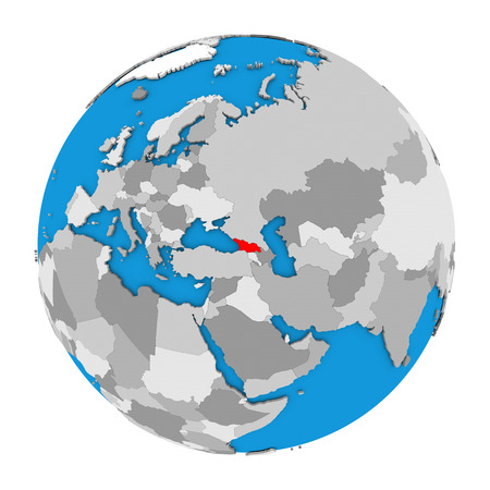 georgia: Map of Georgia highlighted in red on globe. 3D illustration isolated on white background.