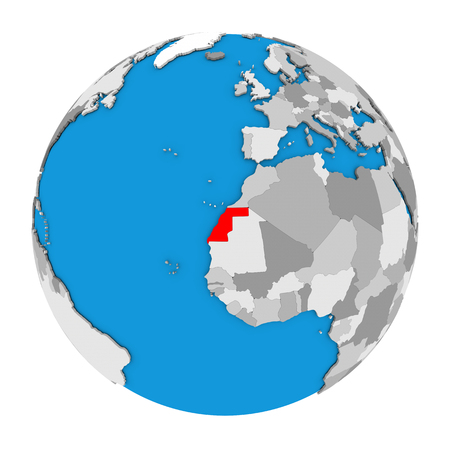 Map of Western Sahara highlighted in red on globe. 3D illustration isolated on white background.