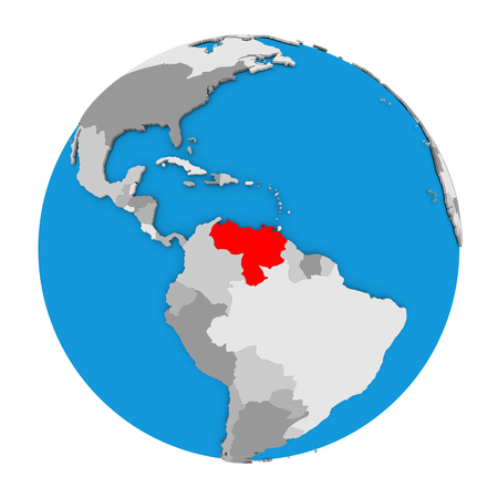 Map of Venezuela highlighted in red on globe. 3D illustration isolated on white background.