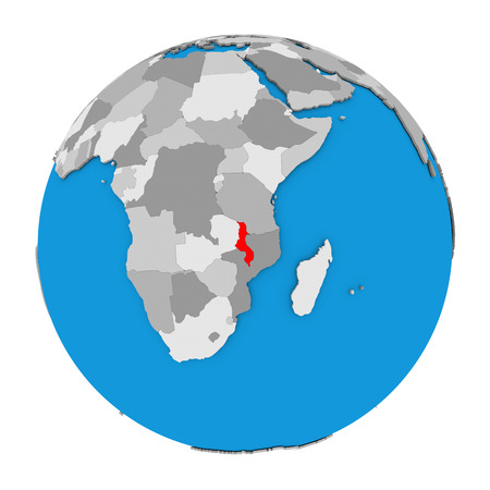 Map of Malawi highlighted in red on globe. 3D illustration isolated on white background.