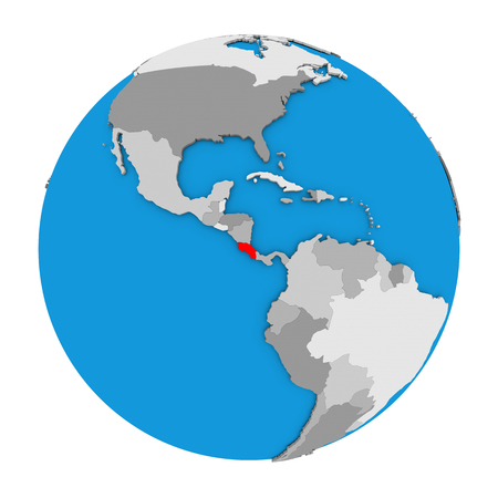Map of Costa Rica highlighted in red on globe. 3D illustration isolated on white background.
