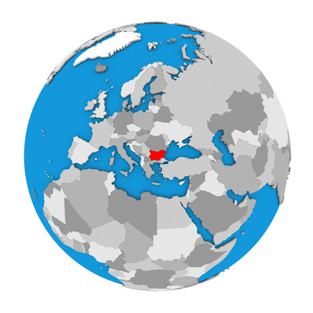 Map of Bulgaria highlighted in red on globe. 3D illustration isolated on white background.