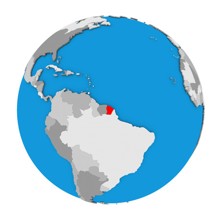 guiana: Map of French Guiana highlighted in red on globe. 3D illustration isolated on white background.