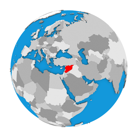 Map of Syria highlighted in red on globe. 3D illustration isolated on white background.