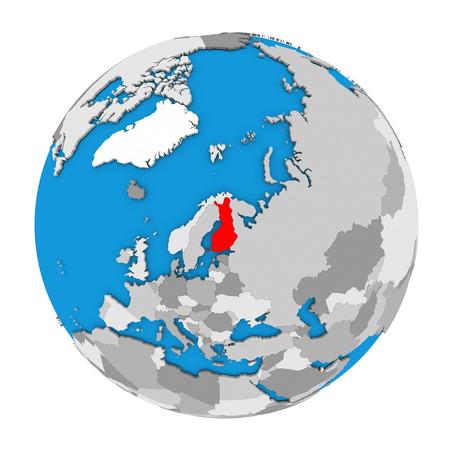 Map of Finland highlighted in red on globe. 3D illustration isolated on white background.