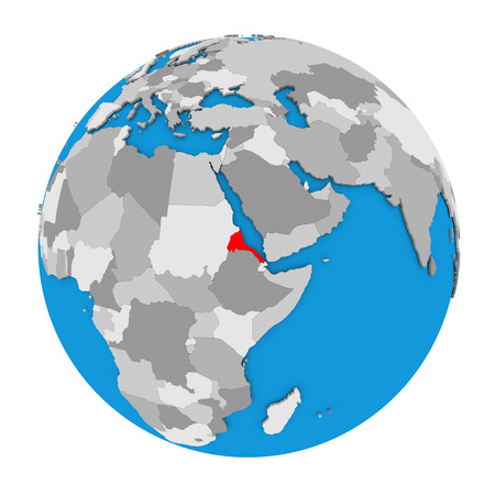 Map of Eritrea highlighted in red on globe. 3D illustration isolated on white background.