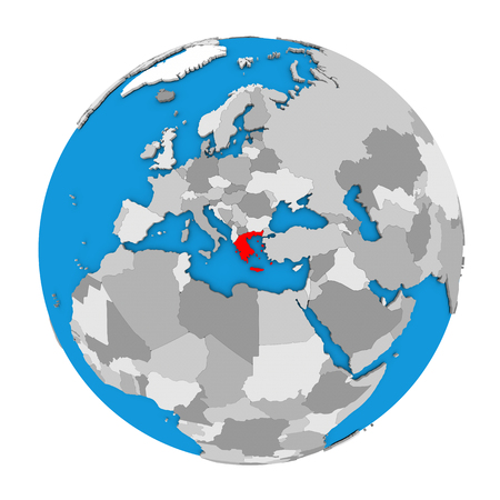 Map of Greece highlighted in red on globe. 3D illustration isolated on white background.