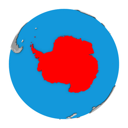 antarctica: Map of Antarctica highlighted in red on globe. 3D illustration isolated on white background. Stock Photo
