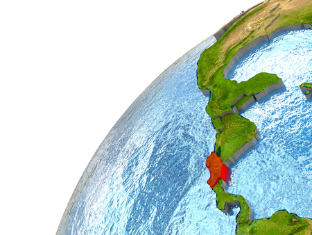 Costa Rica highlighted in red with surrounding region. 3D illustration with highly detailed realistic planet surface and reflective ocean waters.