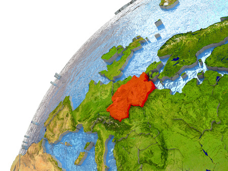 deutschland: Germany highlighted in red with surrounding region. 3D illustration with highly detailed realistic planet surface and reflective ocean waters.