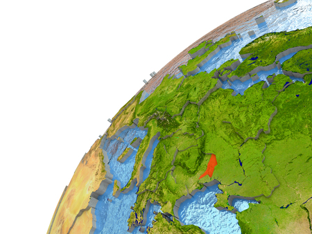 moldovan: Moldova highlighted in red with surrounding region. 3D illustration with highly detailed realistic planet surface and reflective ocean waters.