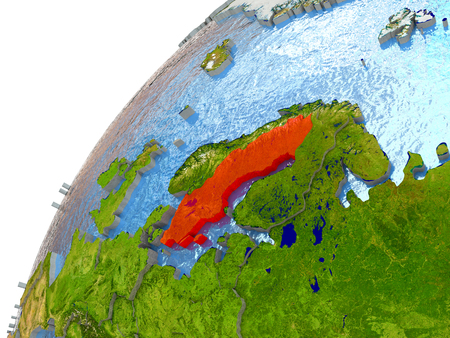 Sweden highlighted in red with surrounding region. 3D illustration with highly detailed realistic planet surface and reflective ocean waters. Stock Photo