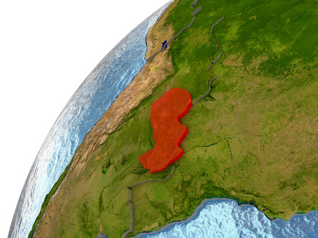 Paraguay highlighted in red with surrounding region. 3D illustration with highly detailed realistic planet surface and reflective ocean waters.
