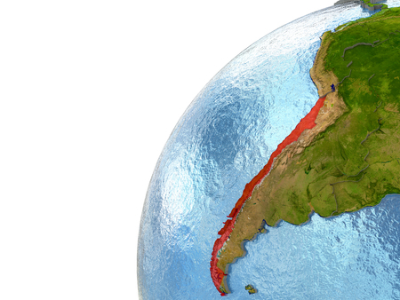 chilean: Chile highlighted in red with surrounding region. 3D illustration with highly detailed realistic planet surface and reflective ocean waters.