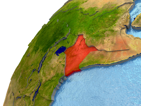 Kenya highlighted in red with surrounding region. 3D illustration with highly detailed realistic planet surface and reflective ocean waters.