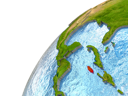 Jamaica highlighted in red with surrounding region. 3D illustration with highly detailed realistic planet surface and reflective ocean waters. Stock Photo
