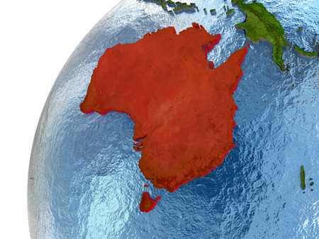 Australia highlighted in red with surrounding region. 3D illustration with highly detailed realistic planet surface and reflective ocean waters.