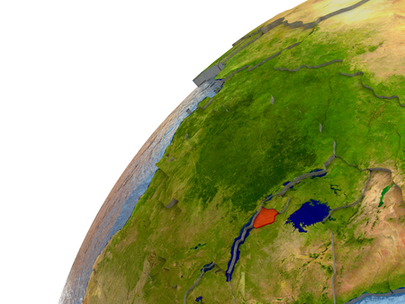 Burundi highlighted in red with surrounding region. 3D illustration with highly detailed realistic planet surface and reflective ocean waters. Stock Photo