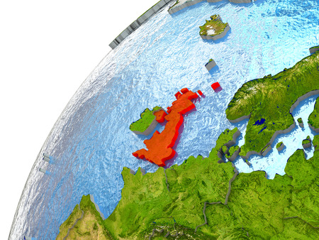 United Kingdom highlighted in red with surrounding region. 3D illustration with highly detailed realistic planet surface and reflective ocean waters. Stock Photo