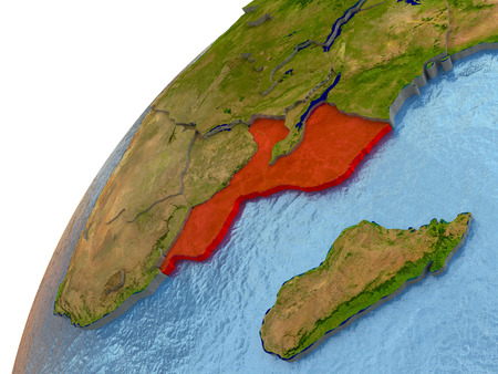 Mozambique highlighted in red with surrounding region. 3D illustration with highly detailed realistic planet surface and reflective ocean waters.