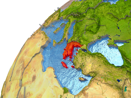 Greece highlighted in red with surrounding region. 3D illustration with highly detailed realistic planet surface and reflective ocean waters.
