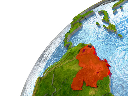 Venezuela highlighted in red with surrounding region. 3D illustration with highly detailed realistic planet surface and reflective ocean waters. Stock Photo