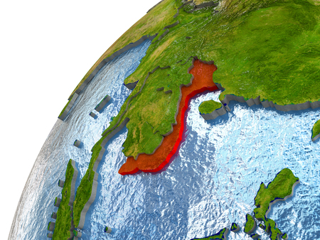 Vietnam highlighted in red with surrounding region. 3D illustration with highly detailed realistic planet surface and reflective ocean waters.