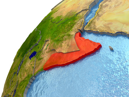 Somalia highlighted in red with surrounding region. 3D illustration with highly detailed realistic planet surface and reflective ocean waters. Stock Photo
