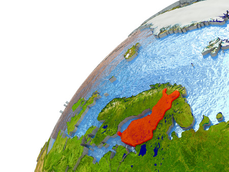 suomi: Finland highlighted in red with surrounding region. 3D illustration with highly detailed realistic planet surface and reflective ocean waters.