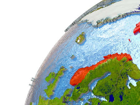 Norway highlighted in red with surrounding region. 3D illustration with highly detailed realistic planet surface and reflective ocean waters.