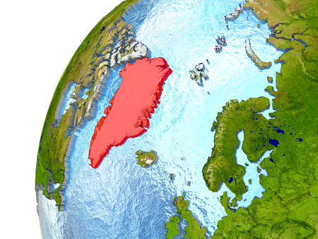 greenlandic: Greenland highlighted in red with surrounding region. 3D illustration with highly detailed realistic planet surface and reflective ocean waters.