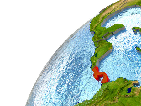 panamanian: Panama highlighted in red with surrounding region. 3D illustration with highly detailed realistic planet surface and reflective ocean waters.
