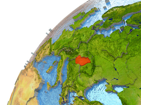 magyar: Hungary highlighted in red with surrounding region. 3D illustration with highly detailed realistic planet surface and reflective ocean waters.