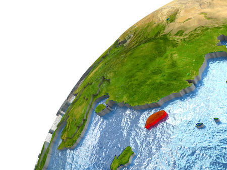 waters: Taiwan highlighted in red with surrounding region. 3D illustration with highly detailed realistic planet surface and reflective ocean waters.